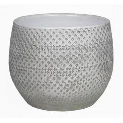 SABINE - Pot Céramique Blanc D14 x H11 cm