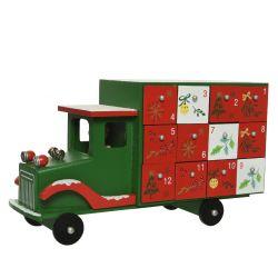 AVENT - Camion calendrier de l'avent Bois Vert/ Rouge L30 x P10,5 x H