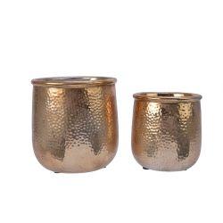 MART - Cache-pot Fer martelé Or clair D14,4 x H15,5 cm par 2