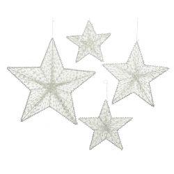 ESTRELLA - Etoiles suspendues Fer Blanc  Ass. D40 x P0,5 cm