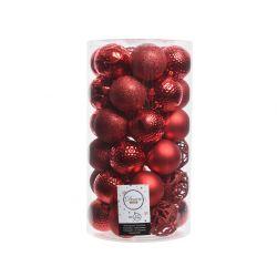 Boules Plastique mix Rouge Noël  ass. D6 cm par 37