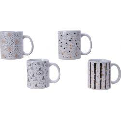 MUG - Tasses Céramique Ass. Blanc Noël L12 x P8 x H9,4 cm par 4