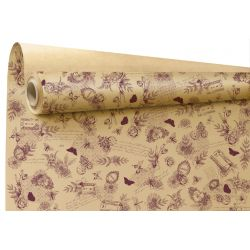 RETRO - Papier Kraft Naturel motifs bordeaux 0.79 x 40 m