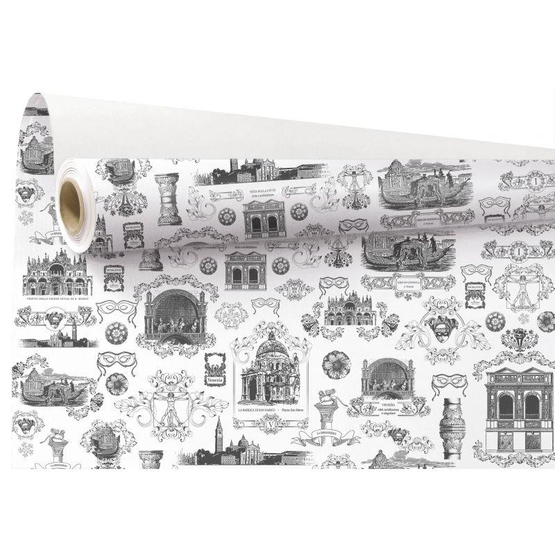 VENISE - Papier Kraft Blanc motifs gris 0.79 x 40 m