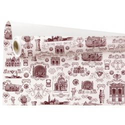 VENISE - Papier Kraft Blancl motifs bordeaux 0.79 x 40 m