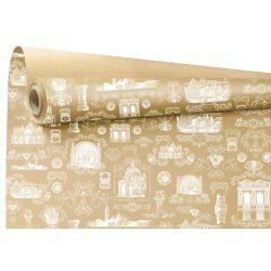 VENISE - Papier Kraft Naturel motifs blancs 0.79 x 40 m