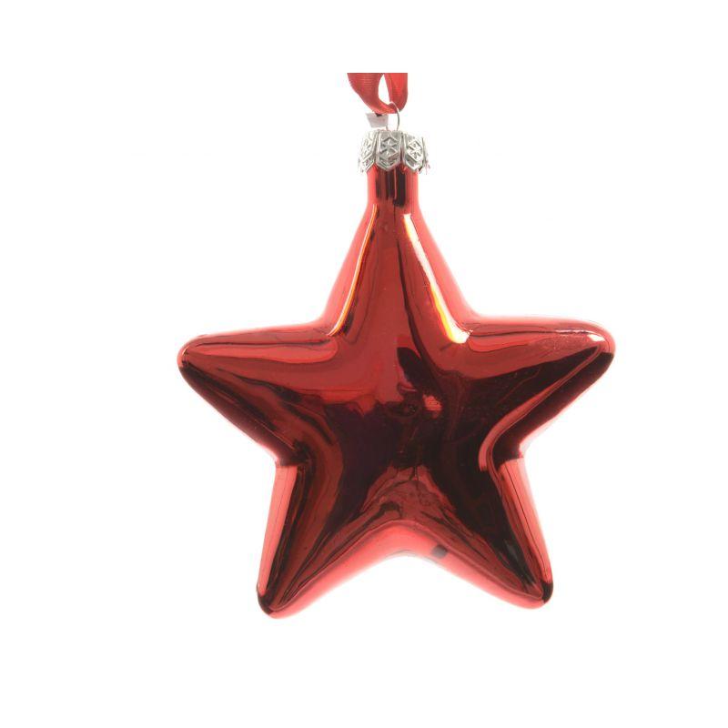 Etoile en verre ruban satin D10 Rouge x 2