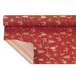 ALASKA - Papier Kraft Rouge Motifs Or 0,80 x 40m
