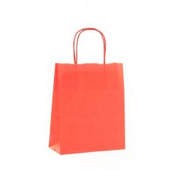 Sac Kraft Rouge 100g poignées torsadées 35x14x40 - 50 sacs