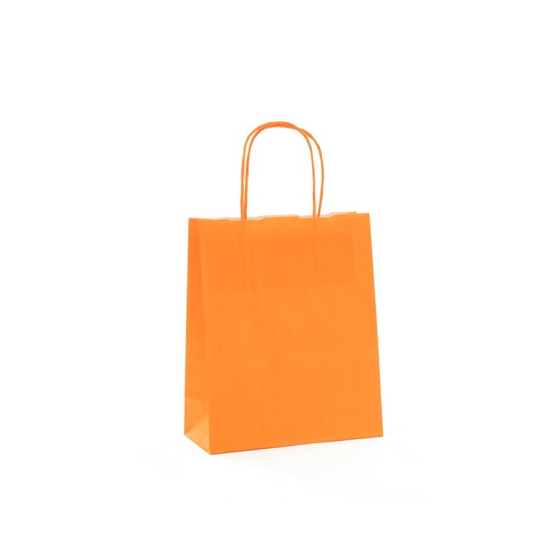 Sac Kraft Orange 100g poignées torsadées 23x12x30 - 50 sacs