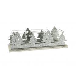 SAPIN - 3 Pots Verre, Sapin Zinc et Support Bois L30 x 9,8 x H9,6 cm