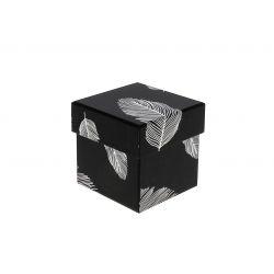 PLUME - Boite à chapeau Carton Motifs argent L7,9 x P7,9 x H7,7 cm
