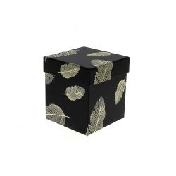 PLUME - Boite à chapeau Carton Motifs Or L7,9 x P7,9 x H7,7 cm