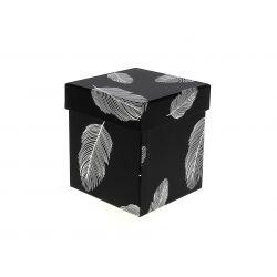 PLUME - Boite à chapeau Carton Motifs argent L10,5 x P10,5 x H11,5 cm