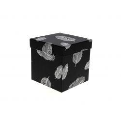 PLUME - Boite à chapeau Carton Motifs Argent L13 x P13 x H13 cm