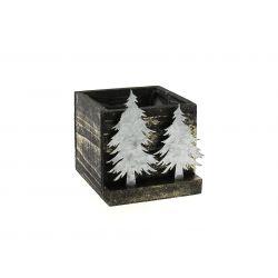 MYDEER - Cache-pot carré Bois Noir et argent Cerf en Zinc L12 x P12 x