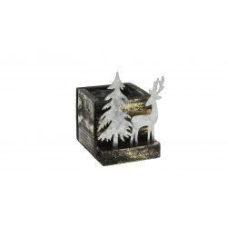 MYDEER - Cache-pot carré Bois Noir et or Cerf en Zinc L9 x P9 x H9 cm