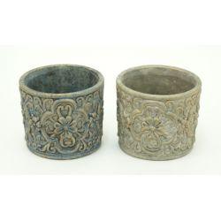 ANTIQUE - Pot Ciment Gris Ass. D13 x H11,2 cm par 2