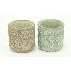 ANTIQUE - Pot Ciment Motifs relief Ass. D13,2 x H13,2 cm par 2