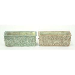 ANTIQUE - Jardinière Ciment Ass. L22,8 x P8,5 x H8,8  cm par 2