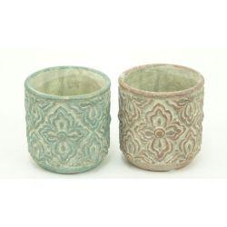 ANTIQUE - Pot Ciment Motifs relief Ass. D11 x H11 cm par 2