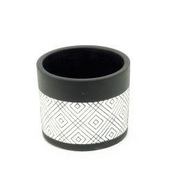 BLACK LINE - Pot Ciment Noir Lignes D12,2 x H10 cm