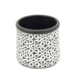 BLACK FLOWER - Pot Ciment Noir Fleurs D11 x H10 cm