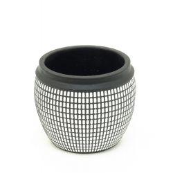 BLACK SQUARE - Pot Ciment Noir Carrés D15,3 x H12,7 cm