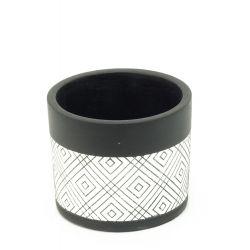 BLACK LINE - Pot Ciment Noir Lignes D13,5 x H12,7 cm