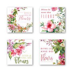 DIV - Etiquettes Voeux Assort. par 500 Dîtes le Avec des Fleurs