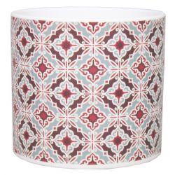AZULEJOS - Pot Cylindre Céramique Motifs rouge D13,2 x H12,3