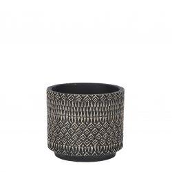 JELD - Céramique Pot motifs Noir D14 x H12,5 cm