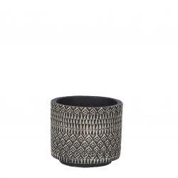 JELD - Céramique Pot motifs Noir D12,5 x H11 cm