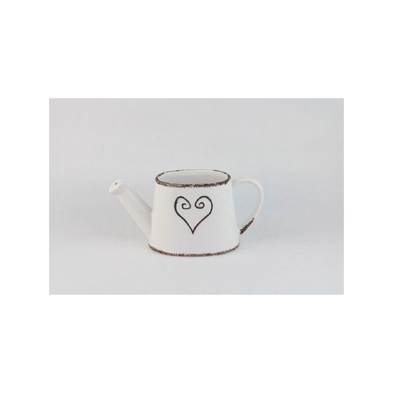 EMA  - Céramique Arrosoir Cœur Blanc L25 x P10,5 x H11,5 cm