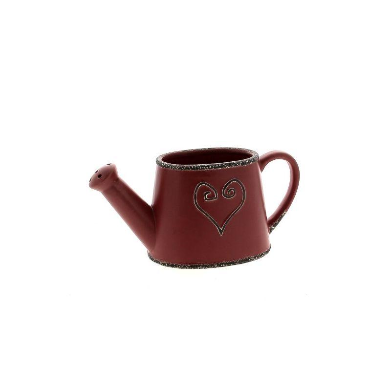 EMA - Céramique Arrosoir Cœur Rouge L25 x P10,5 x H11,5 cm