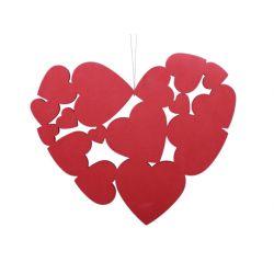MALIA - Cœur en mousse Suspendu Rouge L30 x P30 cm