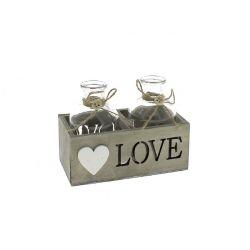 LOVE - Carré bois Naturel+ bouteille x2 D5,6 x H10,4 cm