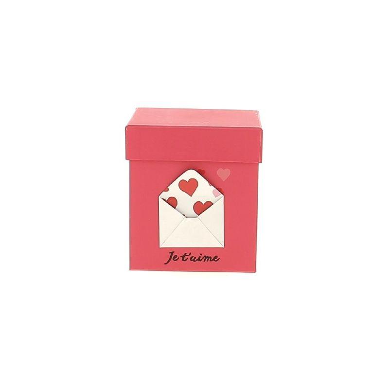 MAIL - Boite enveloppe cœur Fuchsia Carton L13 x P13 x H13 cm
