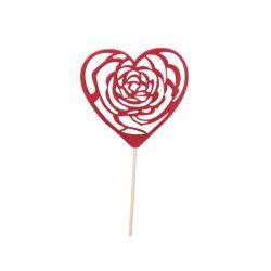 CORA - Piques Cœur en mousse RougeL10 x H30 cm par 12
