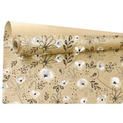 LILOU - Kraft Naturel motifs blancs 0.79 x 40 m
