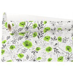LILOU - Kraft Blanc motifs vert 0.79 x 40 m