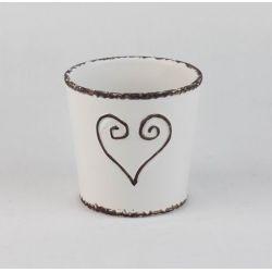 EMA - Céramique Cache-pot Cœur Blanc D12,8 x H12,5 cm