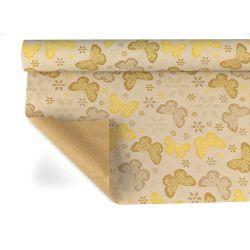 ALYSSA - Kraft Naturel motifs jaune 0,80 x 40 m
