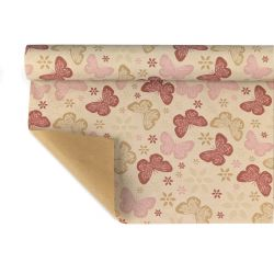 ALYSSA - Kraft Naturel motifs rose 0,80 x 40 m