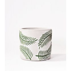 """RELIEF - Cache-pot orchid.Ciment motifs """"Palme"""" en relief D12 x H11cm"""