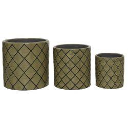 MOSA - Cache-pot terre cuite Vert D13,5 x H13,5 cm par 3