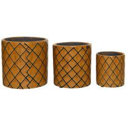 MOSA - Cache-pot terre cuite Orange  D13,5 x H13,5 cm par 3