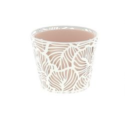 CORAIL - Support + Cache-pot Zinc Rose D11,5 x H9,5 cm