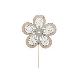 FLOWER - Piques Bois Fleur Gris D8 cm par 12