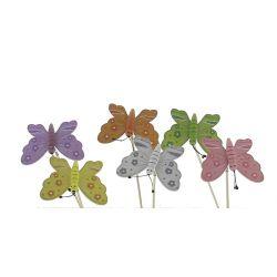 Piques Plastique Papillon Ass. L7,5 x H18 cm Par 12